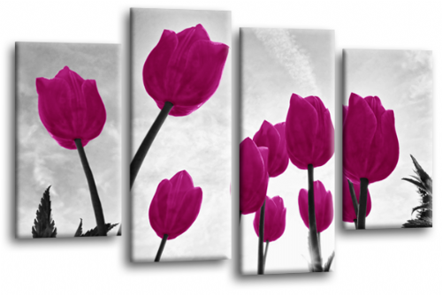 Floral Flowers Canvas Wall Art Picture Tulip Print Purple White